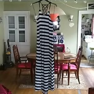 Poof brand black and grey striped maxi dress